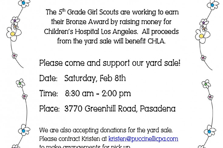 Girl Scout Troop 16761 Yard Sale
