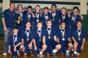 The boys' volleyball team placed 2nd in the CYO championship game.